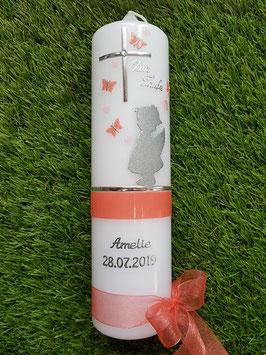 Taufkerze SK154-a SCHUTZENGEL mit Herzen in Lachs & Apricot Holoflitter & Silberschrift / Schmetterlinge