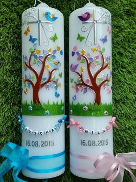Taufkerzen Zwillinge Lebensbaum Türkis Flitter & Rosa Flitter ZW-TK400-2