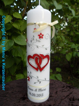 Hochzeitskerze Rot-Creme-Silber HK204 Creme Bänder