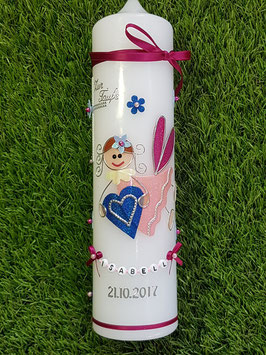 Taufkerze SK116 Schutzengel Mädchen Pink-Rosa-Hellblau-Dunkelblau Holoflitter mit Blüten