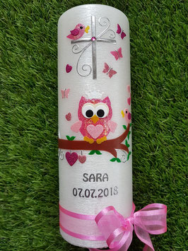 Taufkerze EULE das Original mit Silberschrift TK180 in Fuchsia-Rosa-Altrosa-Pink Holoflitter & Schleife Fuchsia