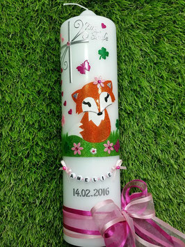 Taufkerze TK209 Fuchs Rosa-Pink-Orange-Apfelgrün Holoflitter
