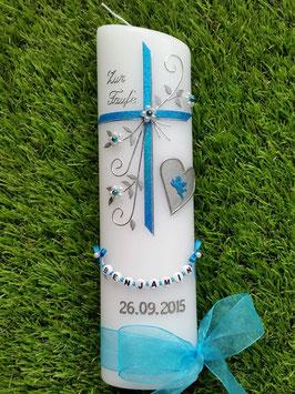 Taufkerze TK134 Herz mit Engel in Türkis Holoflitter mit Silber / Herz silber