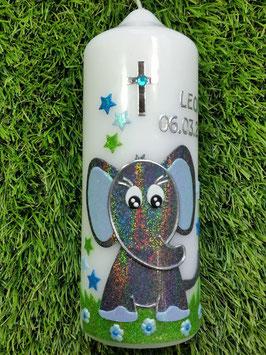 Patenkerze Elefant TK210-8 Anthrazit-Türkis-Hellblau Holoflitter