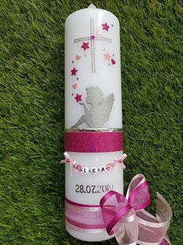 Taufkerze SK154-1 SCHUTZENGEL sitzend mit Sterne & Herzen / Pink-Rosa Holoflitter / Doppelschleife