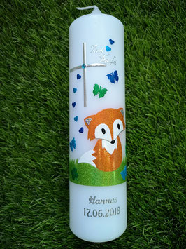 Taufkerze TK209 Fuchs Orange-Weiß-Apfelgrün-Dunkelblau-Türkis Holoflitter / Silberschrift