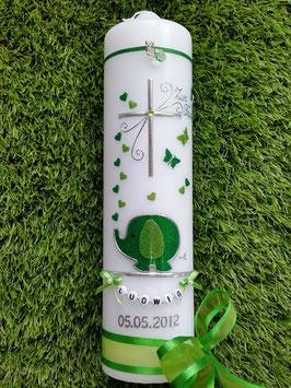 Taufkerze Elefant TK210-2 & Buchstabenkette Grasgrün-Apfelgrün Holoflitter