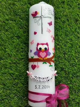 Taufkerze EULE das Original mit Buchstaben-Kette TK181 in Pink-Rosa-Flieder Flitter