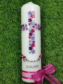 Taufkerze TK201 Kreuz Pink-Silber-Brombeerlila-Flieder Holoflitter & Kette
