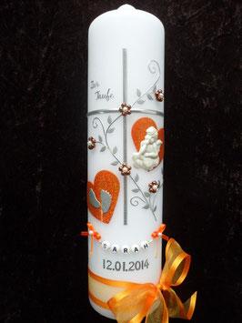 Taufkerze Kreuz TK109-1 Orange Holoflitter & Buchstabenkette