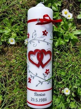 Hochzeitskerze Rot-Silber HK204 Rote Bänder