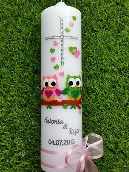 Hochzeitskerze Verliebte Eulen HK216 Rosa-Apfelgrün Flitter