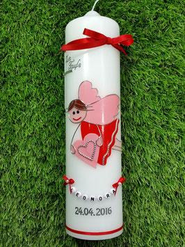 Taufkerze SK116 Schutzengel Neu Mädchen Rot-Rosa Uni / Buchstabenkette