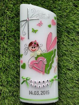 Taufkerze SK116 Schutzengel Apfelgrün-Rosa Holoflitter