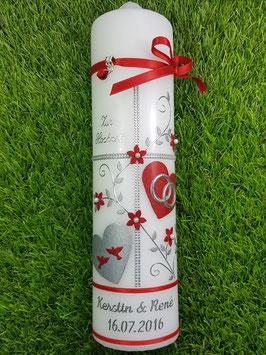 Hochzeitskerze HK109-1 Rot Holoflitter mit Silber & Tauben