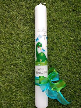 Taufkerze TK198  Dinosaurier Grasgrün-Türkis-Apfelgrün-Hellblau Holoflitter / Silberschrift