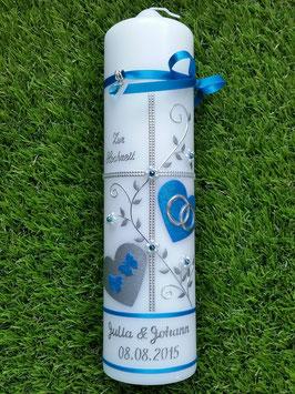 Hochzeitskerze HK109-1 Türkis Holoflitter mit Silber