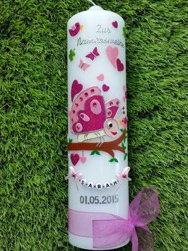 Taufkerze Schmetterling TK183 in Pink-Rosa mit Buchstabenkette©