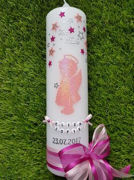 Taufkerze SK154 SCHUTZENGEL Rosa-Pink Holoflitter