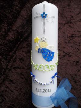 Taufkerze SK152 Kreuz mit SCHUTZENGEL Dunkelblau