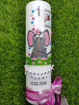 Taufkerze Elefant TK210-8 mit Foto in Anthrazit-Pink-Türkis-Rosa Holoflitter
