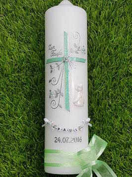 Taufkerze TK130 sehr edel in hellen Mintgrün Holoflitter / Engel in weiß