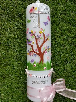 Taufkerzen  Lebensbaum rosa mit Buchstabenkette  TK400-2 / Bänder Zartrosa