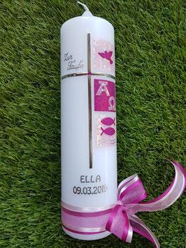 Taufkerze TK108-1 Kreuz Rosa Glitzer & Pink Holoflitter / Silberschrift