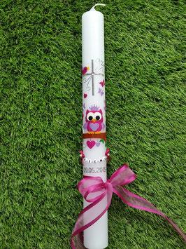 Kommunionkerze EULE das Original KK181 Pink-Flieder Flitter mit Krone