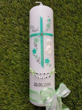 Taufkerze Kreuz mit Sterne TK190 Mint-Hellmint Holoflitter / 3D Engel / Doppelschleife