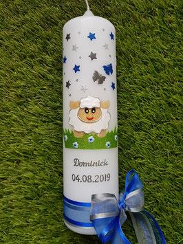 Taufkerze TK276-1 Schäfchen Dunkelblau-Weiß-Kamel Holoflitter mit Sterne / Silberschrift