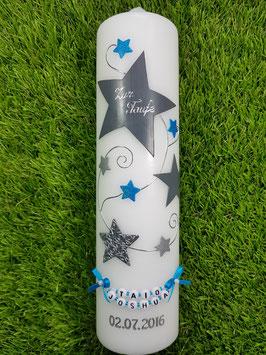 Taufkerze od. Kerze für Sternenkinder KSK300 Silber-Grau-Türkis Holoflitter