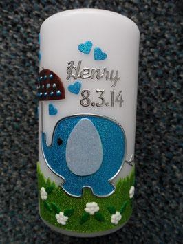 Gastgeschenkkerze Elefant TK210 Türkis-Hellblau Flitter & Sonnenschirm