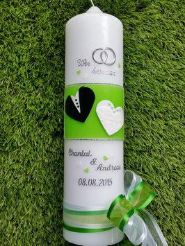 Hochzeitskerze HK115 Wir Heiraten in Weiß- Schwarz-Apfelgrün
