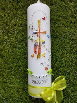 Taufkerze TK172 in Regenbogen-Apfelgrün mit Silber & Buchstabenkette