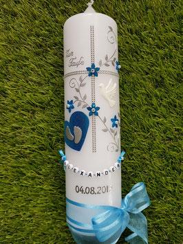 Taufkerze Kreuz TK109-5 Mittelblau Flitter-Silber / weiße Taube