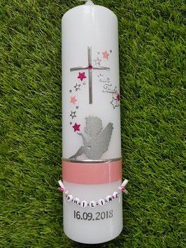 Taufkerze SK154-1 SCHUTZENGEL sitzend Rosa & Pink Holoflitter & Silber mit Sterne / Ohne Schleife