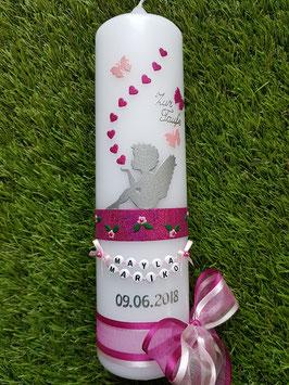 Taufkerze SK154-1 SCHUTZENGEL sitzend Silber / Pink-Rosa Holoflitter / Ohne Kreuz