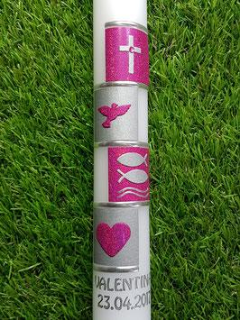 Kommunionkerze oder Konfirmationskerze KK298 Pink Holoflitter