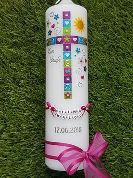 Mosaik Tauf- Kommunionkerze KK098 mit Sonne /  Pink-Apfelgrün-Brombeerlila-Türkis-Silber