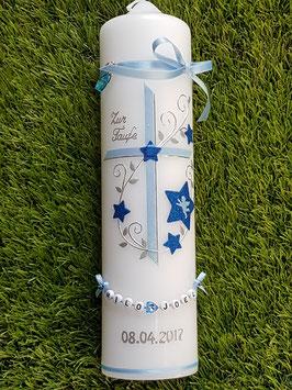Taufkerze TK102-2 Hellblau-Dunkelblau Holoflitter mit Sterne