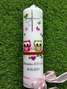 Hochzeitskerze Verliebte Eulen HK216-3 Pink-Rosa-Apfelgrün Flitter mit Kreuz!