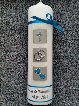 Sehr edle Hochzeitskerze HK210 Türkis-Silber mit Kreuz