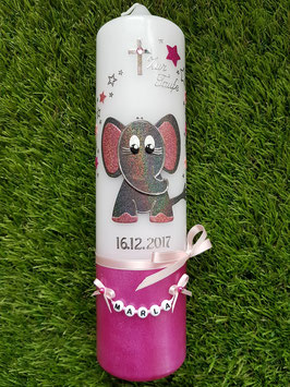 Taufkerze Elefant TK210-8-U Pink-Rosa-Altrosa-Anthrazit Holoflitter