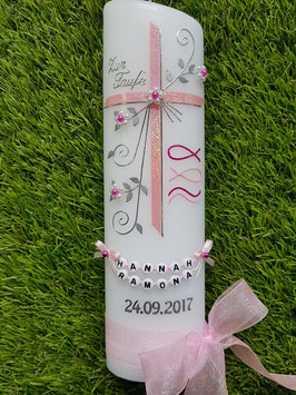 Taufkerze TK137 Fisch & Wellen in Rosa-Pink Holoflitter / Buchstabenkette / Organzaschleife