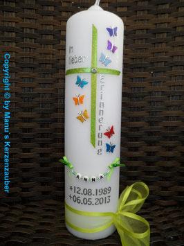 Trauerkerze Erinnerungskerze Schmetterlinge TRK190 Apfelgrün Regenbogen