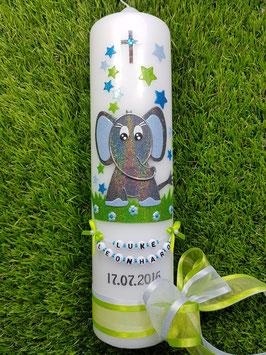 Taufkerze Elefant TK210-8 Anthrazit-Türkis-Hellblau Holoflitter / Schleife Apfelgrün-Weiß
