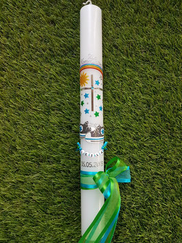 Kommunionkerze TK099 Babychucks Grasgrün-Türkis-Anthrazit Holoflitter mit Regenbogen & Sterne