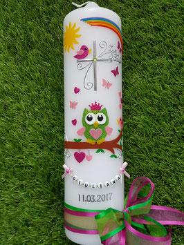 Taufkerze EULE mit Krone Das Original mit Buchstabenkette TK181 in Apfelgrün-Rosa-Pink Flitter / Doppelschleife