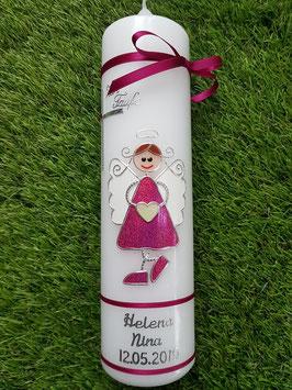 Taufkerze Schutzengelkerze SK119 Pink Holoflitter / Silberschrift / Schmale Bänder